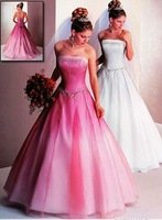 Free Shipping Hot-sale Elegant  Embroidery Strapless Organza   Wedding Dress