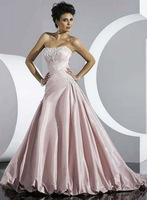 Free Shipping Hot-sale Custom-made  Embroidery  Ruffle Strapless Satin  Wedding Dress
