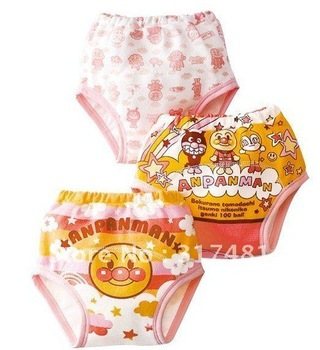 Baby essential, three-layer waterproof, Anpanman, pants learning school diaper training  Pink, light blue, yellow