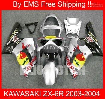 1730 Free Shipp fairing for KAWASAKI ZX-6R 03 04 ZX6R 2003-2004 ZX 6R 03 04 2003 2004 Silver Black