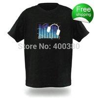 NO 77091  EL T-shirts,t shirt,equalizer t-shirt,el music flashing tshirt ,led tshirt