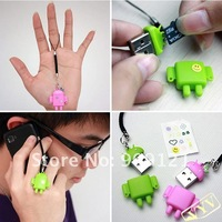 100Pcs/Lot (50 pair ) Cute USB Card Reader Android Robot Doll Gift Of Lover  Mobile Phone Strap Chains