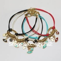 New Arrival! Wholesale 5-color evil eye & hamsa hand charm bracelet 10pcs/lot, vintage jewelry, retro