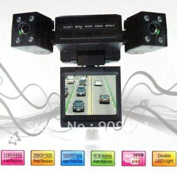Hot Sale ! Mini Dual Rotatable Lens Vehicle Camera 1280 x 480 pixels  Car Black Box DVR Dashboard