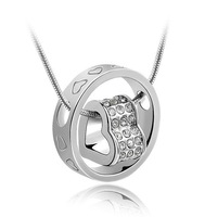 free shipping double heart rhinestnoe necklace silver,heart crystal necklace jewelry silver g