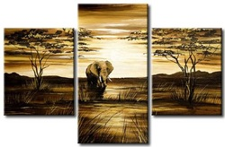hand-painted wall art African grassland big elephant decoration abstract Landscape oil painting on canvas 3pcs/set mixorde(China (Mainland))
