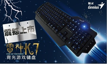Cool Brand Genius Raytheon k7 computer wired USB game blue LED backlit keyboard Free Shipping