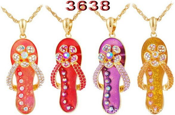 6pcs/lot Newest Fashion Jewelry Chain Necklace Rhinestone Slippers Pendant Gold Plated Best Gift Mix Color Free Shipping 3638(China (Mainland))