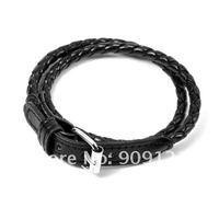 Wholesale 2PCS/LOT Korean Fashion Leather Double Wrap Belt Bracelet Black