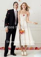 Real Dress Designer A-line tea length Elegant Wedding Dresses with flowers Strapless Bridal Dress vestido de noiva