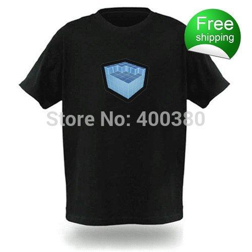 Men balck 100%cotton EL T-shirts,t shirt,equalizer t-shirt,el tshirt sound active,el music flashing tshirt ,led tshirt 77125(China (Mainland))