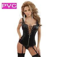 Корсет 1296 - Bustiers Sexy BLACK Polka Dot Burlesque Corset SIZE : S M L XL XXL Corset + Tanga