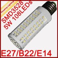 E27 B22 E14 5W LED Corn Light Bulb, AC200-240V, 112 SMD3528, Replacement of 20W Fluorescent Lamp [Housing Lighting]