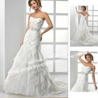 Ruched A line Wedding Dress Strapless Ruffle Bead For bride BN556