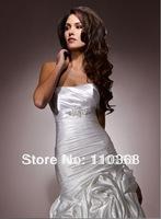 Ivory Satin Strapless Scoop Neckline Sleeveless Bridal Wedding Dresses,Wedding Bridal Dresses-Abrienna