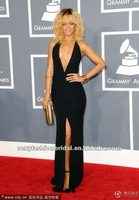 2012 54th Grammy awards Rihanna sexy style a low cut V neck slit on side open back very sexy celebrity dresses