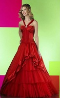 Free Shipping Hot-sale  Embroidery Ruffle Halter Satin  Wedding Dress