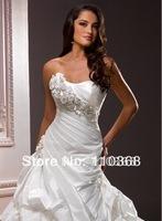Ivory Taffeta Strapless Scoop Neckline Sleeveless Bridal Wedding Gowns,Wedding Bridal Gowns-Arwen