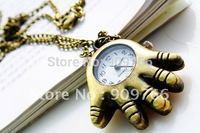 Unisex Vintage Hand Design Pocket Watches Pocket Quartz Watches Antique Necklace Watch for Men & Women Freeshipping PW728