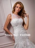 Ivory Lace and Tulle  One-shoulder Scoop Neckline Sleeveless Bridal Wedding Dresses,Wedding Bridal Dresses-Bernadine