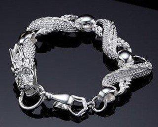 Wholesale 925 sterling silver Man China Dragon bracelet.925 silver cool bracelet for Man. F0008 jewelries