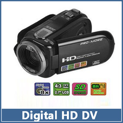"Free Shipping 2.7"" LCD TFT 12.0 MP C4 720P HD 8X Digital Zoom Video Camcorder Camera DVR Recorder Black(China (Mainland))"