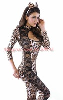 Free Shipping,Sexy Leopard Lace Floral Lion+Ear Role Play Costumes Kits,Tight Club/Party Dress,Performance Wear