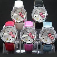 free shipping 5pcs Hello Kitty Quartz Girls Ladies Wrist Watch A426