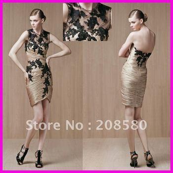 Gold high neck short above-knee sheath appliqued taffeta cocktail party dresses E898
