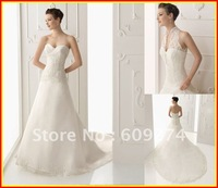 Custom 2012 Exquisite Strapless Backless A line Organza Applique White Ivory Wedding Dresses Dress Bridal Gowns