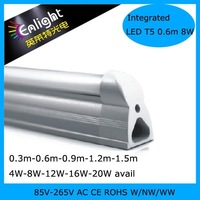 Integrated LED T5 tube 8W 0.6m/2ft 85-265V AC CE ROHS