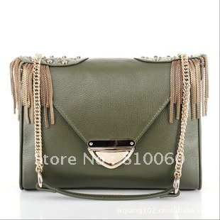 Classicial Kristen Clutch With Blackhardware satchel bag  genuine leather free shipping