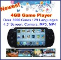 Freeshipping! Newest 4GB Game Player(Black) with Over 3000 Popular Games+29 Country&#39;s Languages+4.3&#39; Screen+MP3/4+TV OUT+Camera