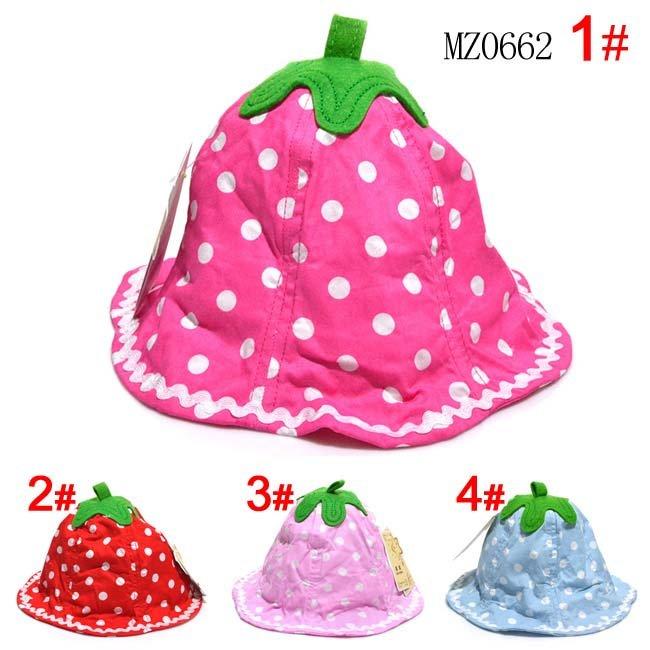 Flower designs baby bucket hats polka dot pattern baby caps baby jpg