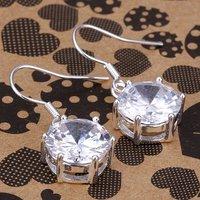 E172 wholesale fashion rhinestone jewelry 925 silver earrings crystal drop earrings silver jewelry free shipping