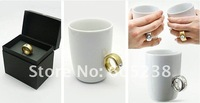 Free Shipping Elegant Crystal Diamond 2 Carat Ring Ceramic Cup