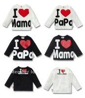 Free shipping + i love papa mama baby shirt/T-Shirt boy & girl Long-Sleeve Shirt,Infants