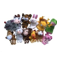 Free Shipping 12 zodiac Cartoon Animal Finger Puppet,Finger toy,finger doll,baby dolls,Baby Toys,Animal doll 12pcs/bag