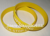 yellow Silicon Wristbands with customized white color print logo