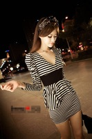 Stripe dress style long sleeve even spring dress 81609