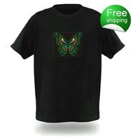 Free shipping EL T-shirts,t shirt,equalizer t-shirt,el tshirt sound active,el music flashing tshirt ,led tshirt 77014A