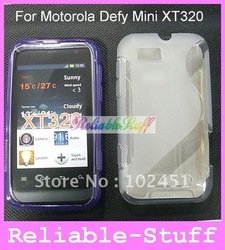 For Defy Mini Case,S Line Silicone Rubber TPU GeL Case Cover Skin for Motorola Defy Mini XT320 100pcs Free shipping XT320C01(China (Mainland))