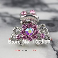 H168-2676 Promotional Gift Small!Free Shiping 10PCS/Lot/Color! Alloy Lady Crystal Flower Rhinestone Jewelry Fashion Hair Claw
