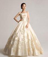 New 2012 luxury wedding princess wedding hollow camellia gold silk embroidery satin wedding dress