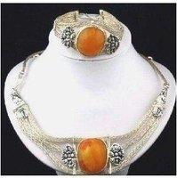 Jewelry Tibetan Silver Amber Necklace Bracelet Set