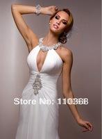 Ivory Chiffon Halter Deep V-neckline Sleeveless Bridal Wedding Dresses,Wedding Bridal Dresses-Electra