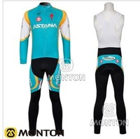 hot ! 2012  new outdoor astana team fashion cycling sale wear long sleeves jersey+BIB pants