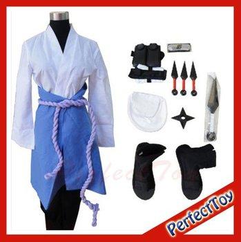 Naruto akatsuki Cosplay Costume Uchiha Sasuke S M L XL XXL set