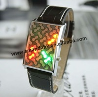 100pcs/lot, men's leather band LED watch,peanut binary style,Luminous leather watch.