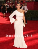 Free shipping popular fashion unique white one shoulder with long sleeve wrapped chiffon celebrity red carpet dresses RC05